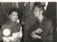 thumbnail link to original 1979 press photo David Bowie in Kimono Just a Gigolo pre-premiere party Cafe Royal.
