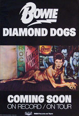 thumbnail link to original David Bowie US Diamond Dogs tour and album promo poster.