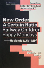 thumbnail link to original 1987 6th June Finsbury Park Factory Records Supertent gig poster.