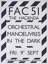 thumbnail link to original 1983 Hacienda  poster Orchestral Manoeuvres in the Dark.