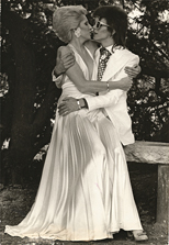 thumbnail link to original 1973 press photograph David and Angie Bowie by Terry O'Neill.