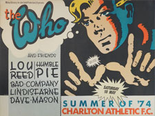 thumbnail link to original The Who 1974 Charlton F.C. concert poster