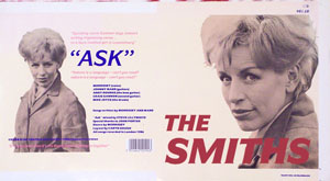 thumbnail link to original 1986 Rough Trade 7 inch sleeve proof The Smiths Ask.