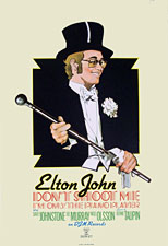 thumbnail link to original DJM promo poster Elton John, Don't Shoot me I'm only the Piano Player