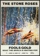 thumbnail link to original 1989 UK Stone Roses first album poster, Fools Gold, double dolphins version.