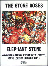 thumbnail link to original 1990 promo poster The Stone Roses Elephant Stone.
