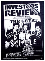 thumbnail link to original Virgin Records promo poster Sex Pistols Investors Review