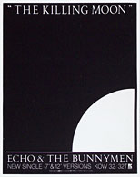 thumbnail link to original 1984 Echo and the Bunnymen Killing Moon WEA promo poster