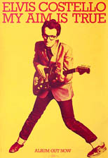 thumbnail link to original 1977 Stiff Records promo poster Elvis Costello My Aim is True