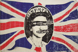 thumbnail link to original 1977 Virgin promo poster Sex Pistols God Save the Queen Rat Scabies collection