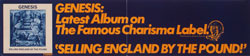 thumbnail link to original Genesis Selling England By The Pound Charisma/Atlantic promo sticker