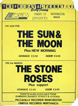 thumbnail link to original 1989 Stones Rose Sun and the Moon Feb/March 1989 gig poster.