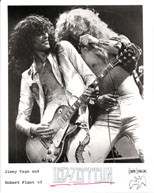 thumbnail link to original 1977 Swan Song promo photograph Led Zeppelin, Page and Plant on stage