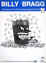 thumbnail link to original 1986 promo poster Billy Bragg Talking with the Taxman about Poetry