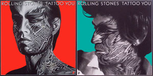 thumbnail link to original Rolling Stones card stock promo posters Peter Corriston Tattoo You Keith and Mick