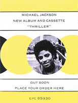 thumbnail link to original 1982 Epic Records UK advance promo poster Michael Jackson Thriller