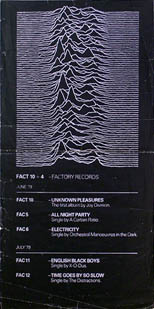 thumbnail link to original Joy Division Factory Records poster Unknown Pleasures.