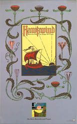 thumbnail link to original 1975 ATCO promo poster Hawkwind Warrior on the Edge of Time, Barney Bubbles elements