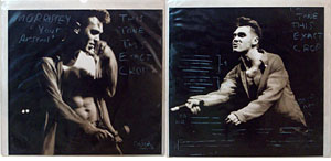 thumbnail link to original 1992 Morrissey Your Arsenal sleeve proof with back cover transparency.
